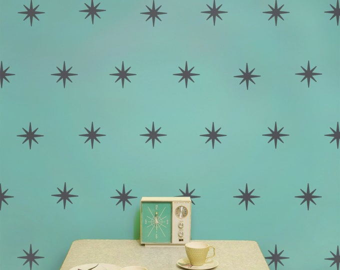 Starburst mid century wall decal set, star pattern wall decals, coronata star decals, 50s design