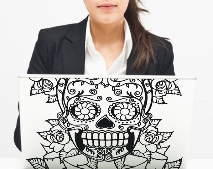 mexican sugar skull laptop decal, day of the dead macbook decal, dia de los muertos sticker, custom fit laptop decal, skull
