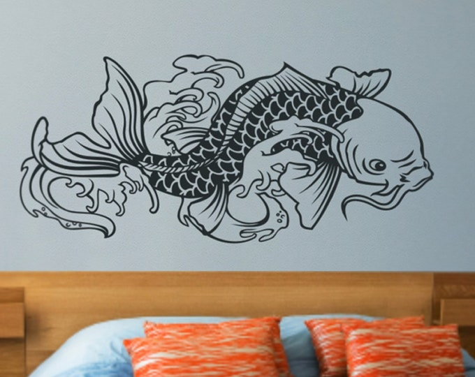 koi fish wall decal, japanese carp decal, traditional koi tattoo decal, fish sticker art, traditional japanese koi art, tattoo flash