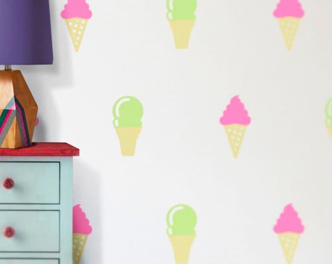ice cream cone wall decal set, ice cream stickers, ice cream decor, ice cream parlor art, children's room art, nursery art,  ice cream shop