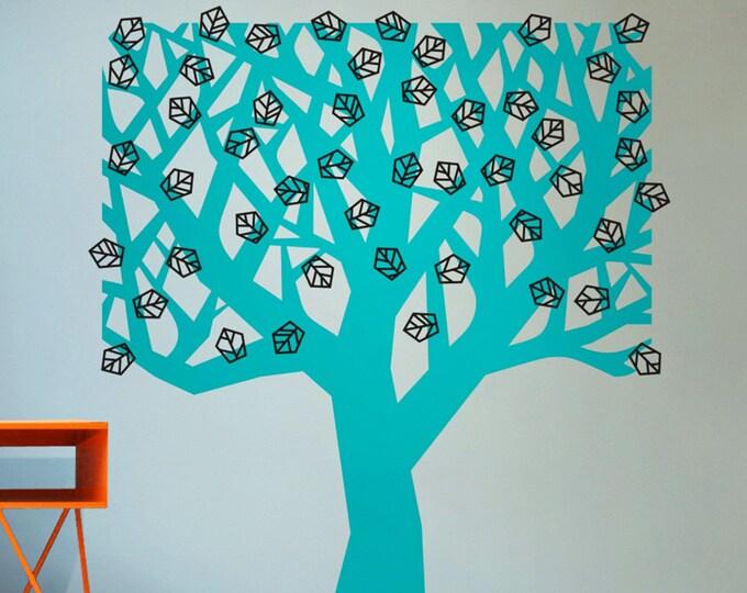 geometric tree wall decal, tree wall sticker, modern tree vinyl wall decal, nature wall decor, living room decor, tree art