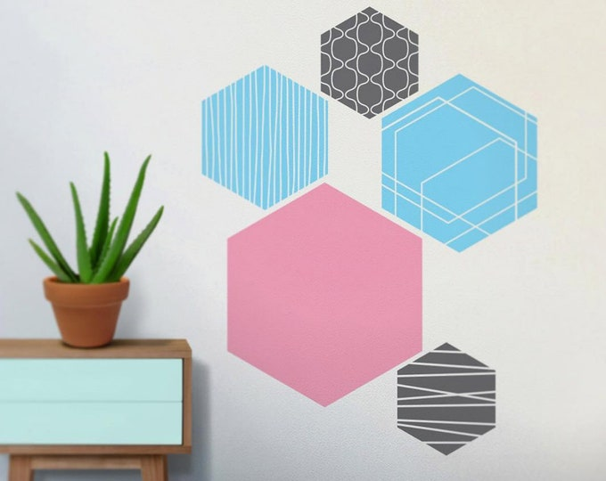 hex vinyl wall decals, hexagonal geometric wall art, modern art, minimalist art, minimal wall decor, abstract wall decal