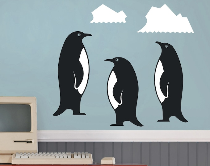 penguin wall decal set, penguin family art, nursery decor, cute penguin decor