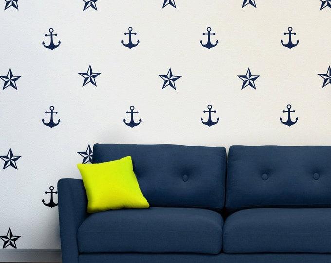 anchor and nautical stars wall decal set, nautical stickers, sailor wall stickers, anchor stickers, ocean art, nautical art