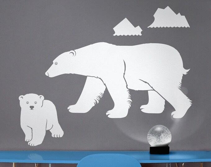 polar bear wall decal, mother bear sticker, bear cub sticker, arctic animal decor, bear decal, nursery decor, kids room art