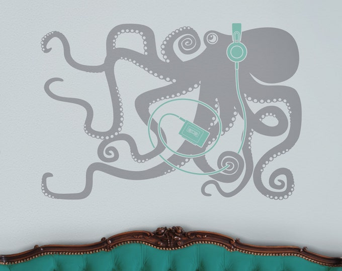 Octopus wall decal, octopus with headphones, retro 80s, music lover decor, animal art