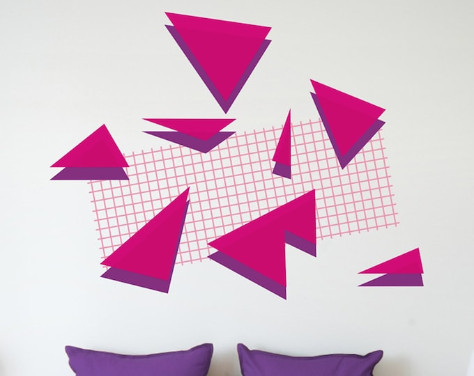 80s retro wall decal set, memphis group style, 80s art deco, geometric decals, vintage eighties