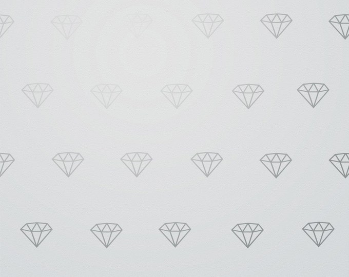 Silver Diamond wall decal- metallic silver, diamond pattern,  gemstone wall stickers, jewel art, precious stones