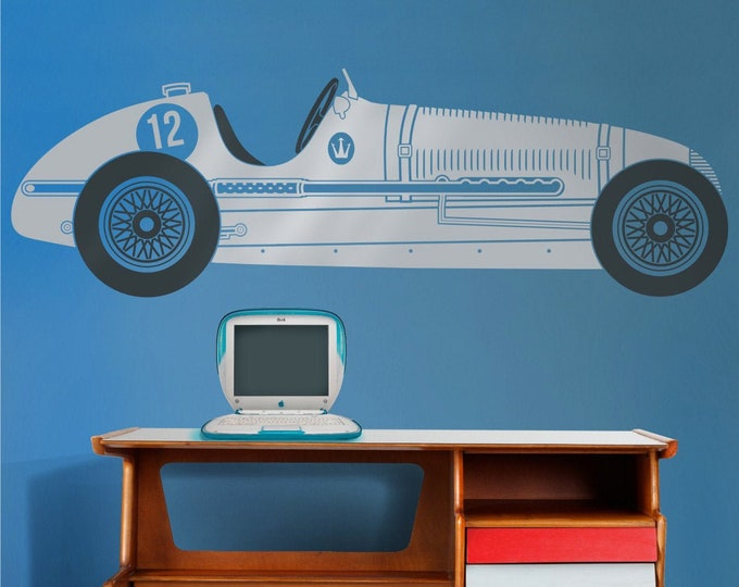 Vintage race car wall decal- rMaserati art, car sticker, automobile art