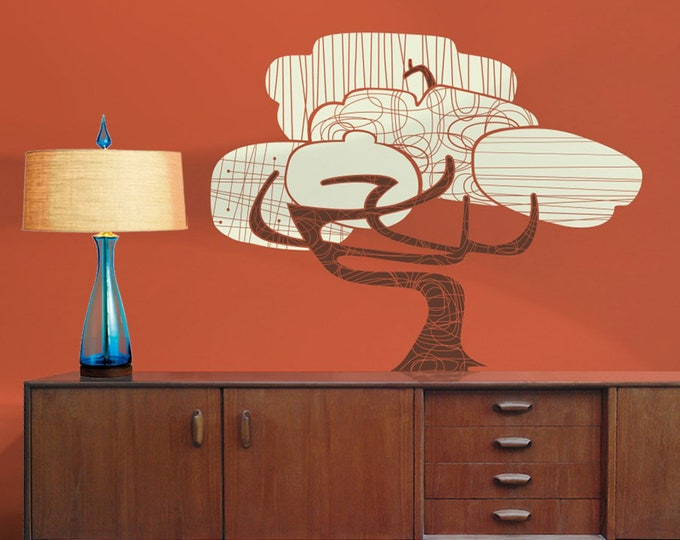 mid century modern tree wall decal, vintage style decor, bonsai tree art