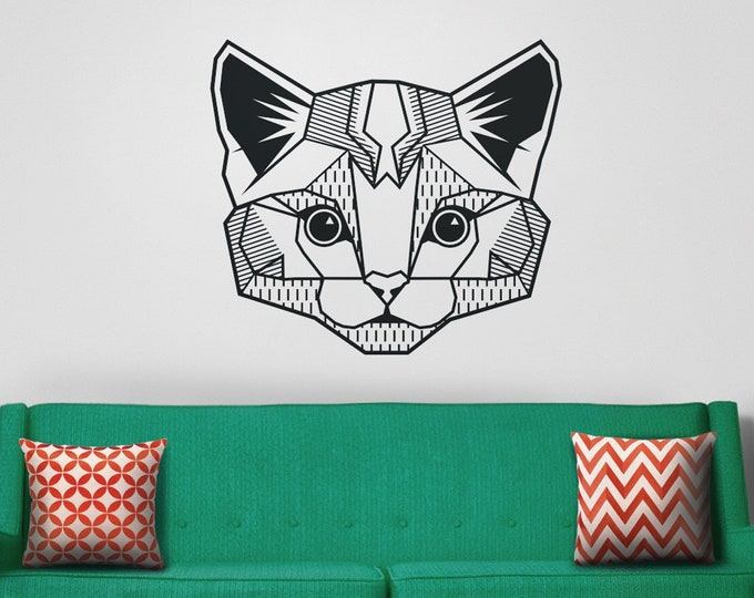 cat wall decal, geometric cat decal, abstract feline sticker, kitty art