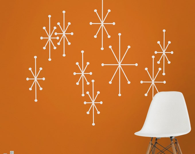 atomic starbursts vinyl wall decals, mid century modern retro, vintage