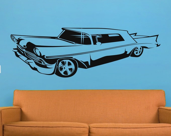 Lowrider wall decal- muscle car art, garage art, bedroom decor, hot rod art, automobile art, gift for man, boy's rom decor, man cave art
