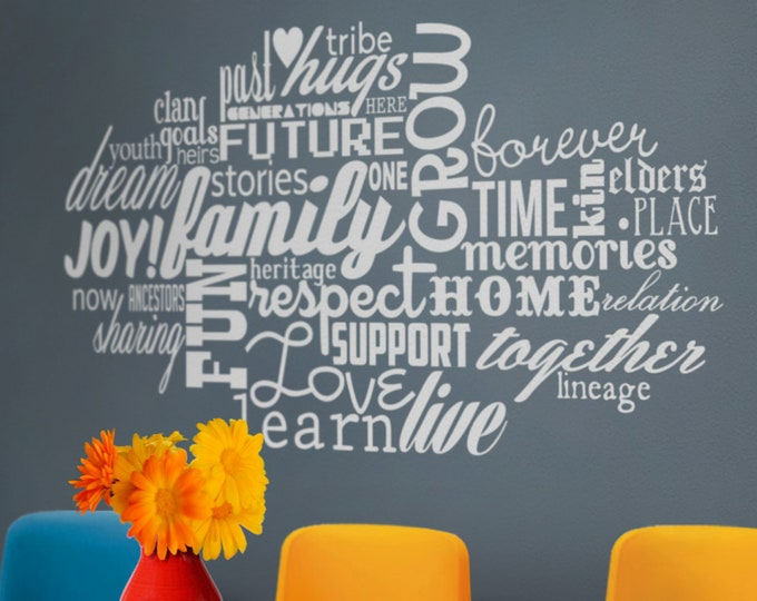 word cloud vinyl wall decal, custom word cloud, personalized words wall sticker, words wall decal, cloud of words