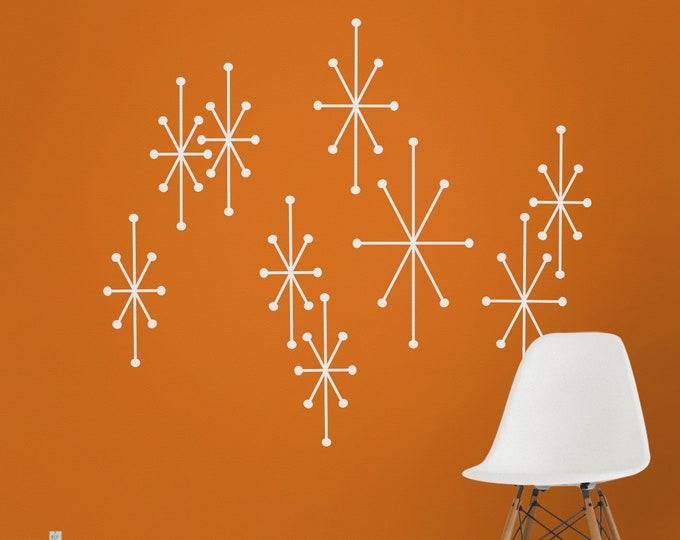 atomic starbursts wall decals, mid century modern stars, 50s design