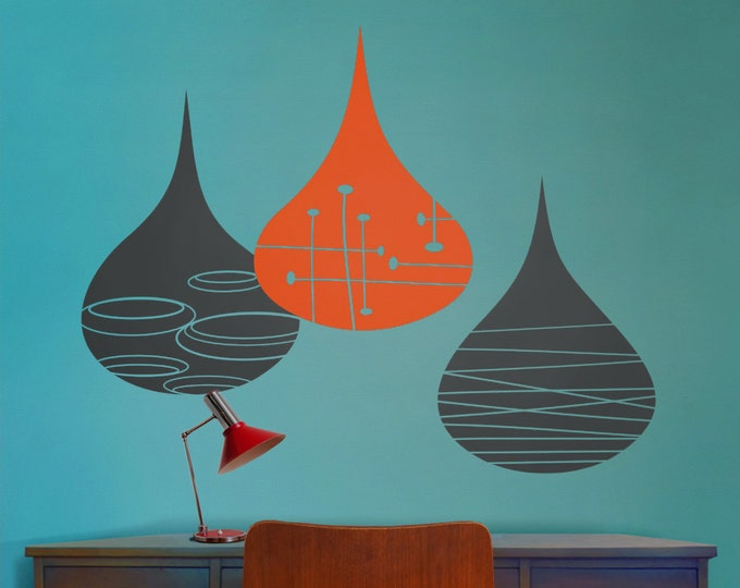 mid century modern rain drops wall decals, geometric rain drops, 50's art and design, mcm