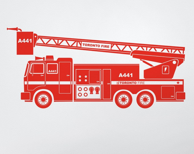 Red fire truck wall decal- personalized fire truck, custom, kid's room decor, firetruck, nursery decor, kids room, red truck