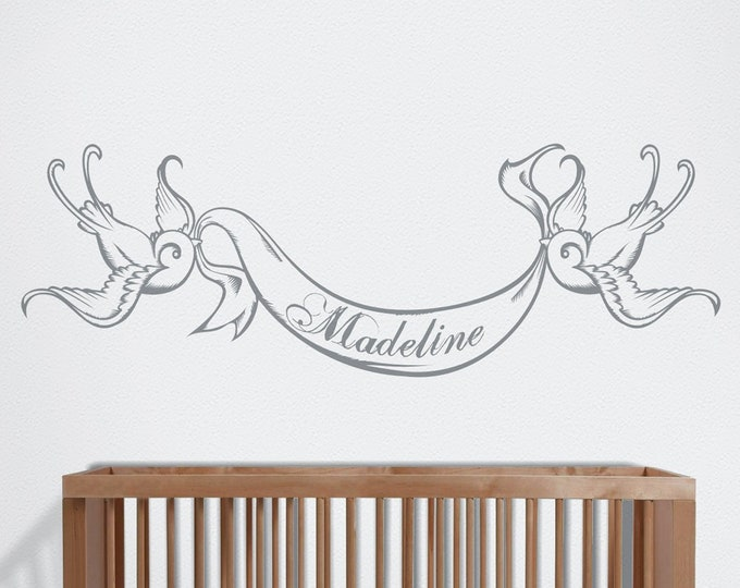 Custom bird wall decal- custom name decal, tattoo art, custom decal, baby boy nursery, baby girl nursery, nursery decor, custom banner decal