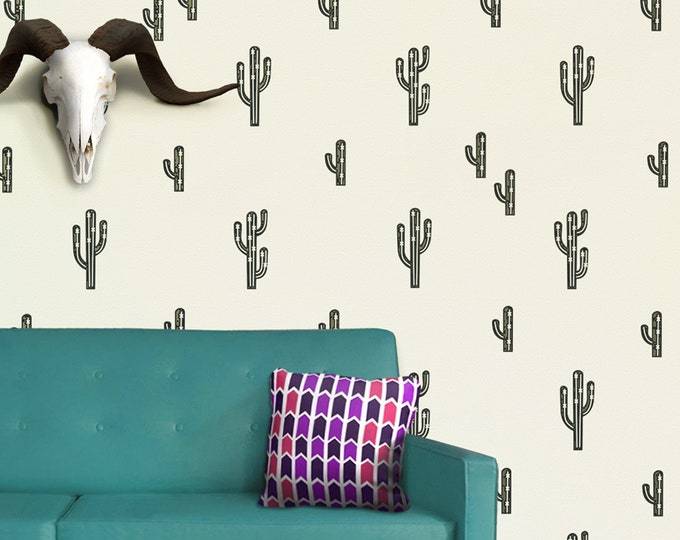 Cactus wall decal set, cactus pattern wall sticker art, southwestern art, desert art, living room decor