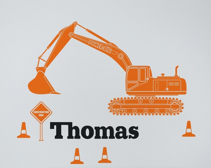 Orange excavator wall decal- heavy equipment sticker, construction equipment, personalized decal, gift for boys, children's room