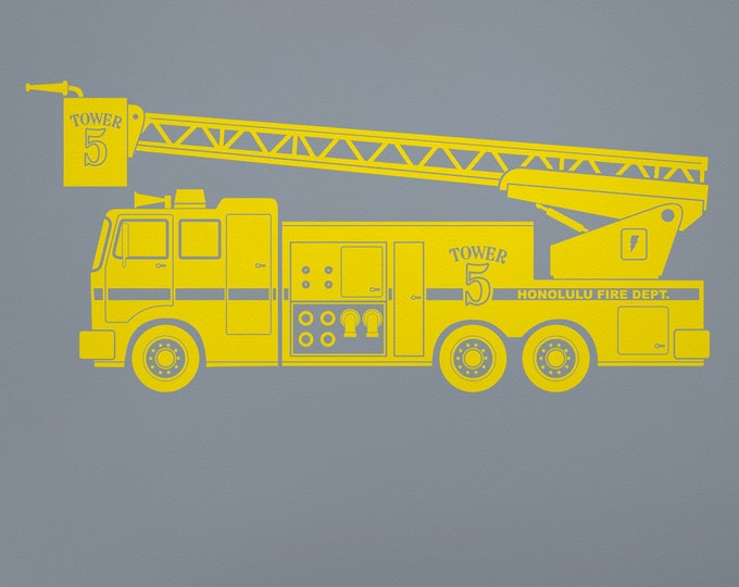 Yellow fire truck wall decal- fire truck art, custom fire truck decal, kid's room decor, firetruck, nursery decor, boy's room