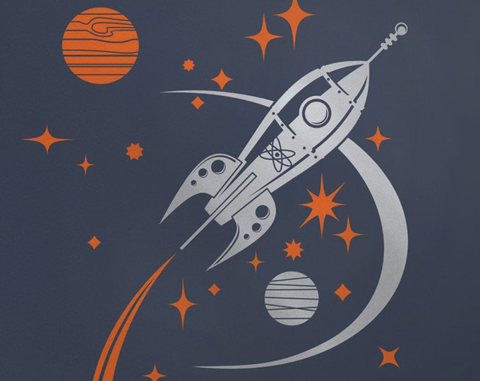 Silver rocket ship wall decal- metallic silver, mid century modern, sticker, space ship art, retro rocket ship, outer space art