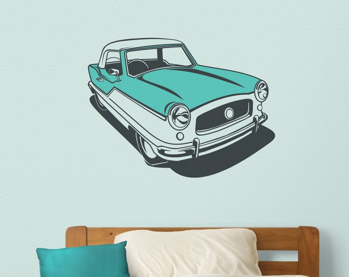 Vintage auto wall decal- Nash Metropolitan art, mid century car art, retro car, dorm room art, car lover art