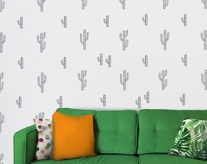 Cactus wall decal set- cactus pattern wall sticker art, southwestern art, desert art, living room decor, desert plants