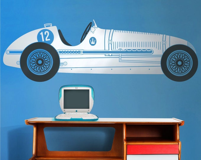 Vintage race car wall decal- Maserati wall art, car stickers, grand prix art, custom car decal, car lover gift, boys room decor