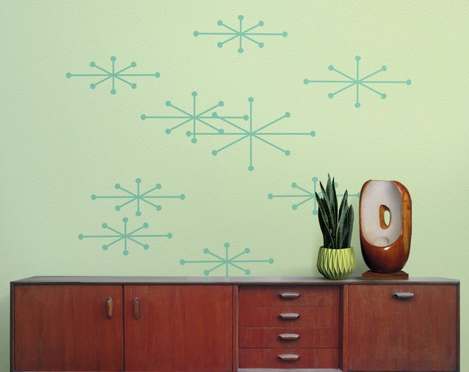 Atomic starbursts wall decals- mid century celestial decor, vintage wall art, retro starburst stickers, star stickers, mid century decor