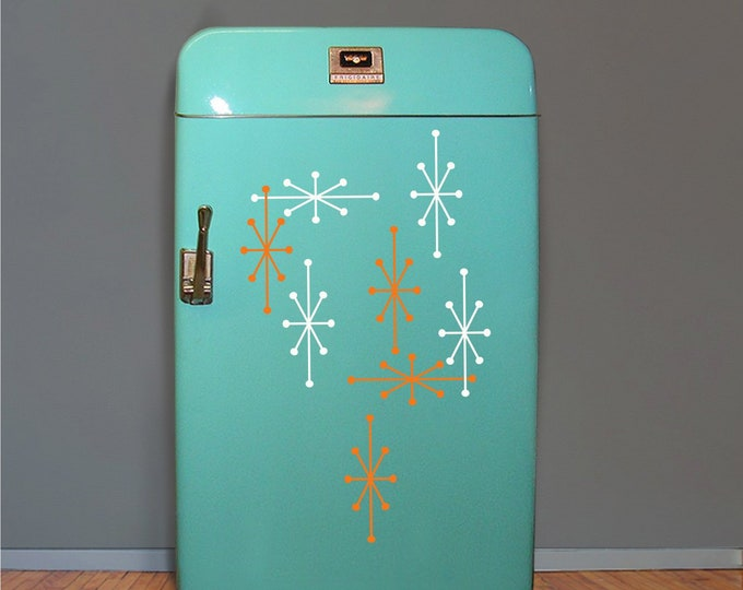 Atomic starburst refrigerator stickers- mini-fridge stickers, mid century modern, vintage 50s fridge decals, retro starburst decals