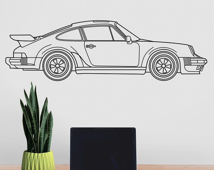 Porsche 911 turbo wall decal- 1988 Porsche 911, sports car art, auto blueprint art, classic car art, gift for him, car lover gift