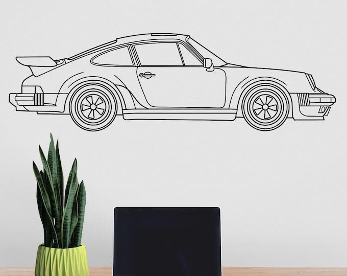 Porsche 911 turbo wall decal- 1988 Porsche 911, sports car art, auto blueprint art, classic car art, gift for him, car lover gift