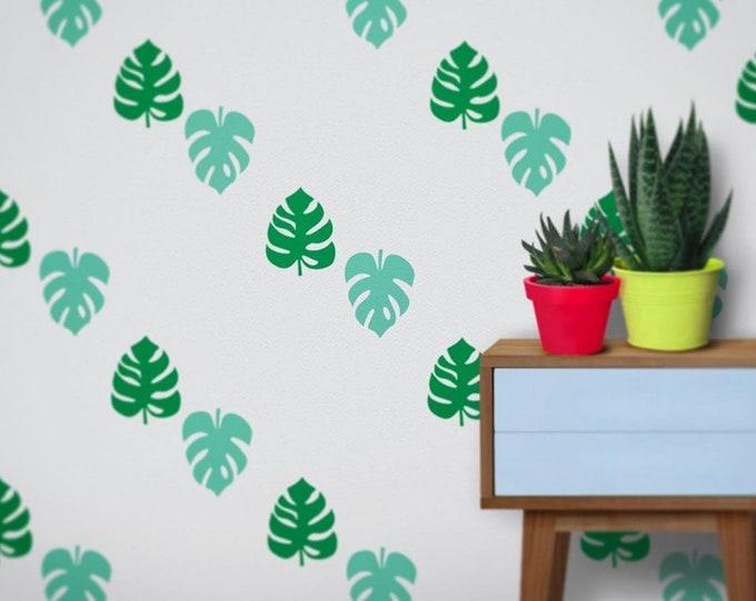 Monstera leaf wall decal set- tropical plant pattern, monstera plant motif, pattern wall decal, monstera leaf pattern