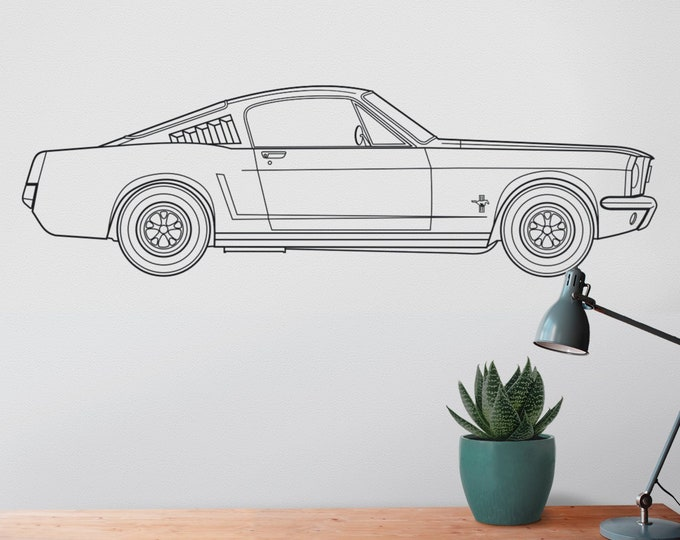 Ford mustang wall decal- 65 mustang fastback art, pony car art, auto blueprint art, automobile design, muscle car art, car lover gift