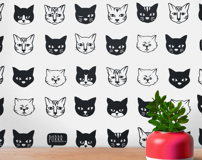Cat pattern wall decal set- cat wall decal, cat stickers, cat lover gift, nursery decor, girls room decor, animal art, crazy cat lady