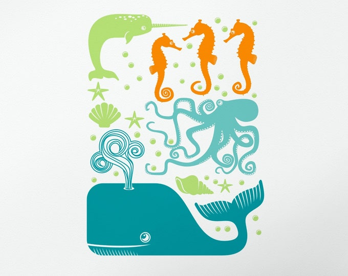 Sea Creatures wall decal set- under the sea animals, nursery decal, kids room decor, animal art, animal stickers, marine life wall art