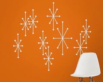 Atomic starbursts wall decals, mid century modern stars, vintage style wall art, mcm atomic stars, retro home decor