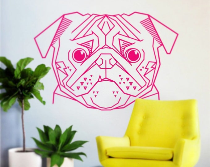 pug wall decal, geometric pug wall decal, abstract dog sticker, cute pug decal