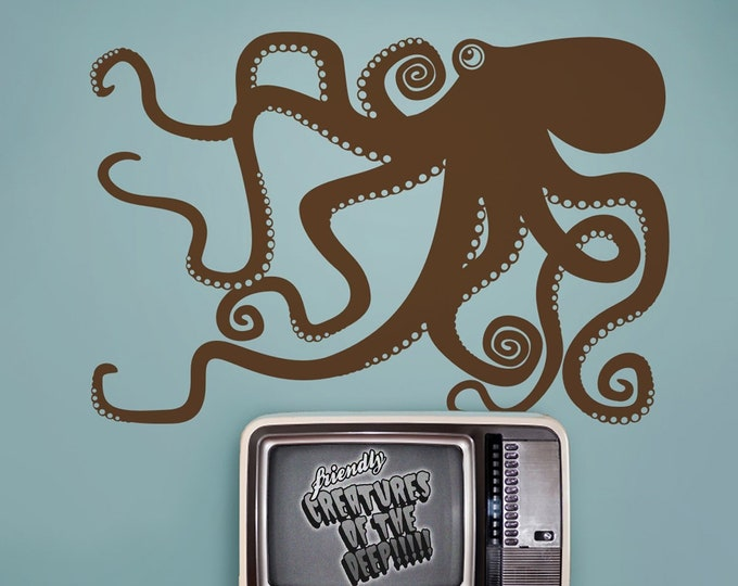 Octopus wall decal- tentacles sticker, kraken wall art, children's room, marine life decor, nursery decor