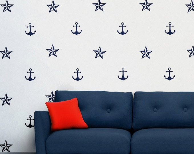 anchor and nautical stars wall decal set, nautical stickers, sailor wall stickers, anchor stickers, ocean art, nautical art