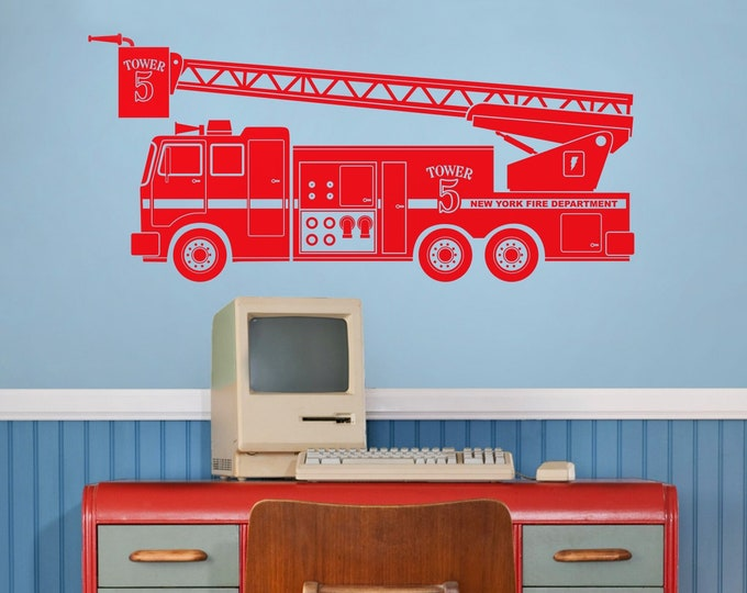 Fire truck wall decal- fire truck art, custom fire truck decal, kid's room decor, firetruck, baby boy nursery, nursery decor, boy's room