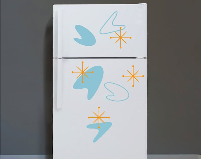 Vintage boomerang refrigerator stickers- mid century decor, vintage 50s fridge decals, retro boomerang decals, fridge stickers