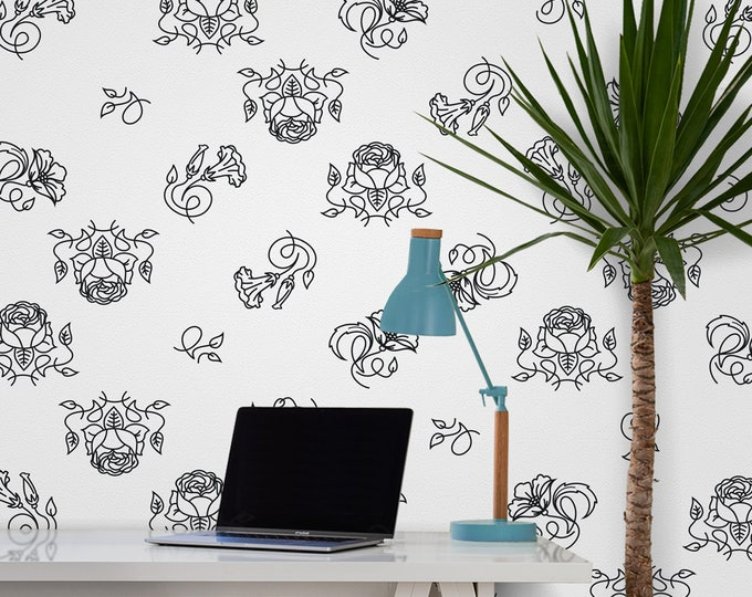 Floral wall decal- flower pattern, flower line art, decorative floral vinyl wall decal, modern flower art, living room decor, nursery decor