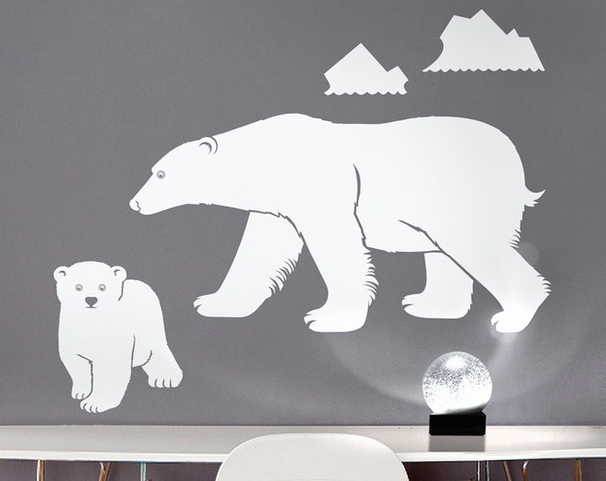 polar bear wall decal, mother bear sticker, bear cub sticker, arctic animal decor, bear decal, nursery decor, kids room art