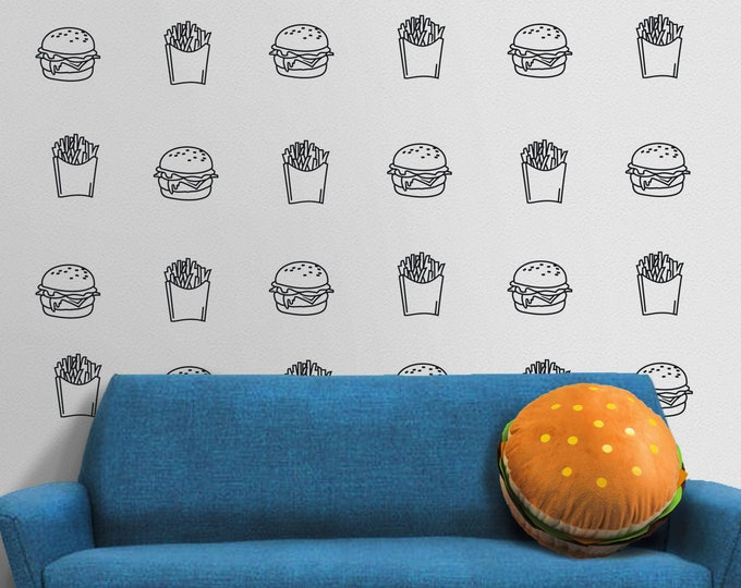 Burger and Fries wall decal- fast food, hamburger art, diner decor,  restaurant art, hamburger motif, french fries art, kitchen