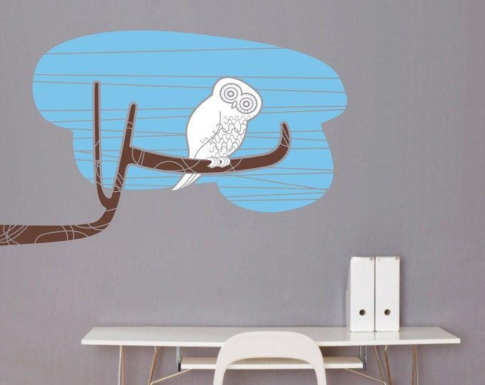 Owl wall decal- mid century modern, tree branch, bird art, girls room, boys room, nursery decor, animal art, bedroom