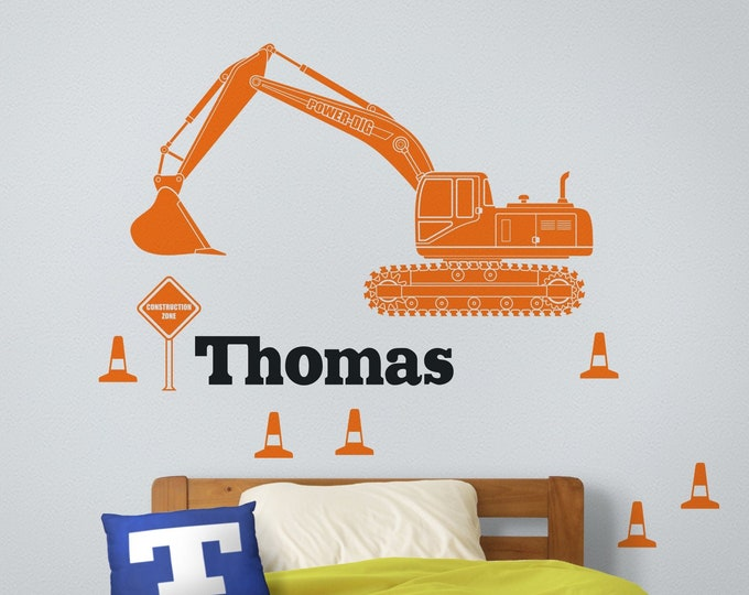 Excavator wall decal- heavy equipment sticker, construction equipment art, custom name decal, digger decal, gift for boys, childrens room