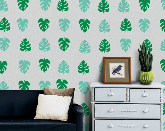 Monstera leaf wall decal- tropical plant motif, leaf pattern wall decal, swiss cheese plant