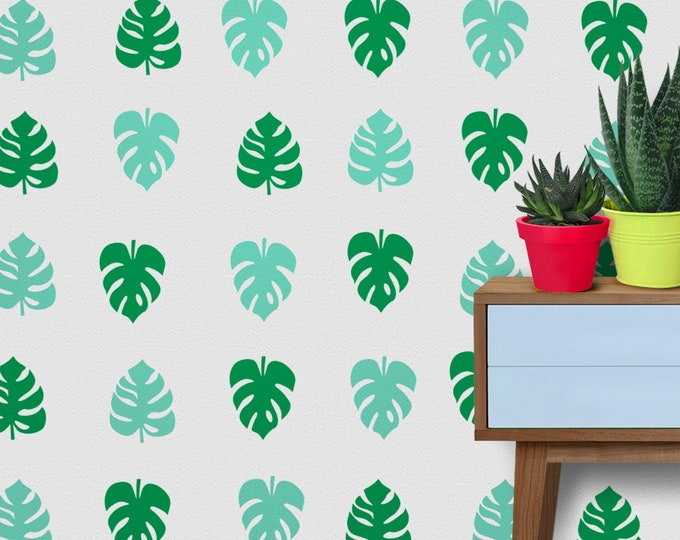 Monstera leaf wall decal set- tropical plant pattern, monstera plant motif, pattern wall decal, monstera leaf pattern
